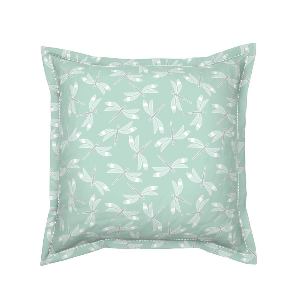 Serama Throw Pillow featuring dragonfly mint lg by cindylindgren