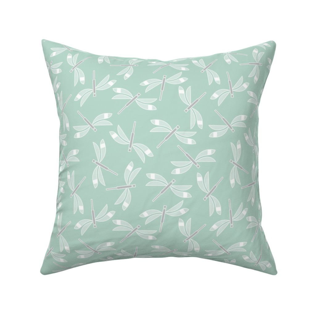 Catalan Throw Pillow featuring dragonfly mint lg by cindylindgren