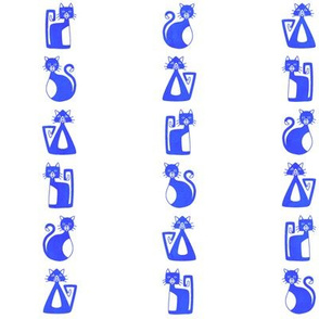 Geometrical Cats - blue pinstripe