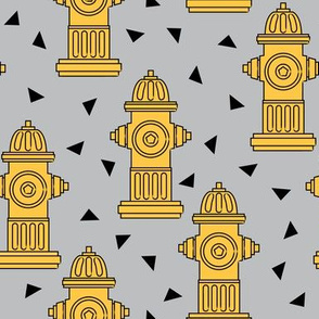 yellow fire hydrants and triangles