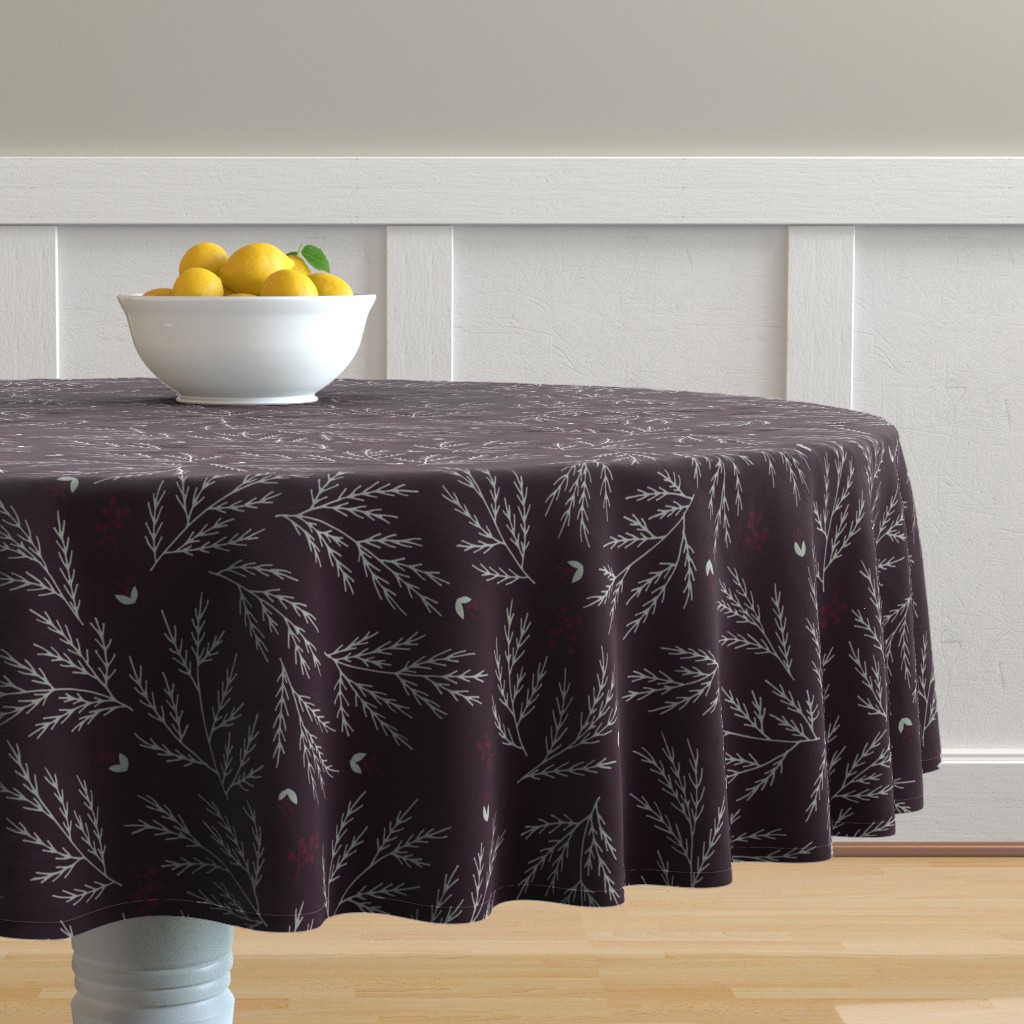 Malay Round Tablecloth featuring Cypress leaves holiday print by yuanxudesign