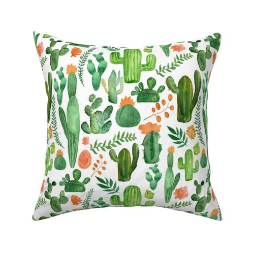 Colorful Fabrics Digitally Printed By Spoonflower Green Boho Cactus On White With Orange Accents