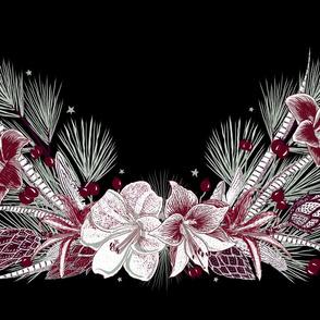 Elegant Holiday Wreath placemat (black)