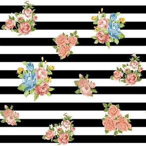 Rose Floral on Black and White Stripes