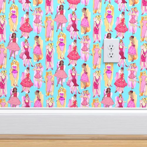 Wallpaper Girly Vintage Fashion Illustrations In Magenta Orange On Turquoise Blue Small Print
