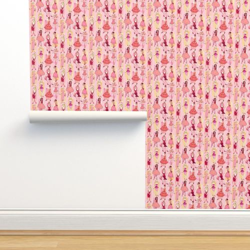 Wallpaper Girly Vintage Fashion Illustrations In Red Orange On Peach Pink Small Print