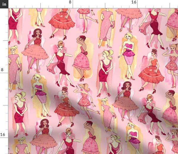 Fabric By The Yard Girly Vintage Fashion Illustrations In Red Orange On Peach Pink Large Print
