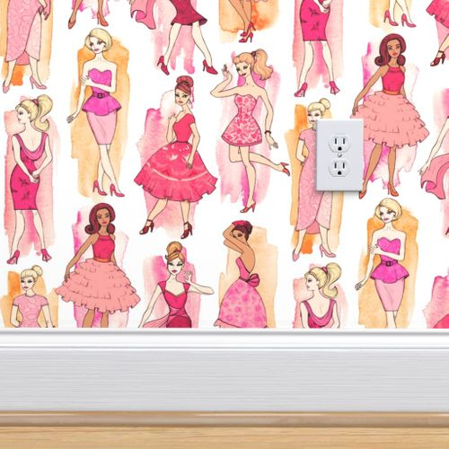 Wallpaper Girly Vintage Fashion Illustrations In Coral Orange On Cream Small Print