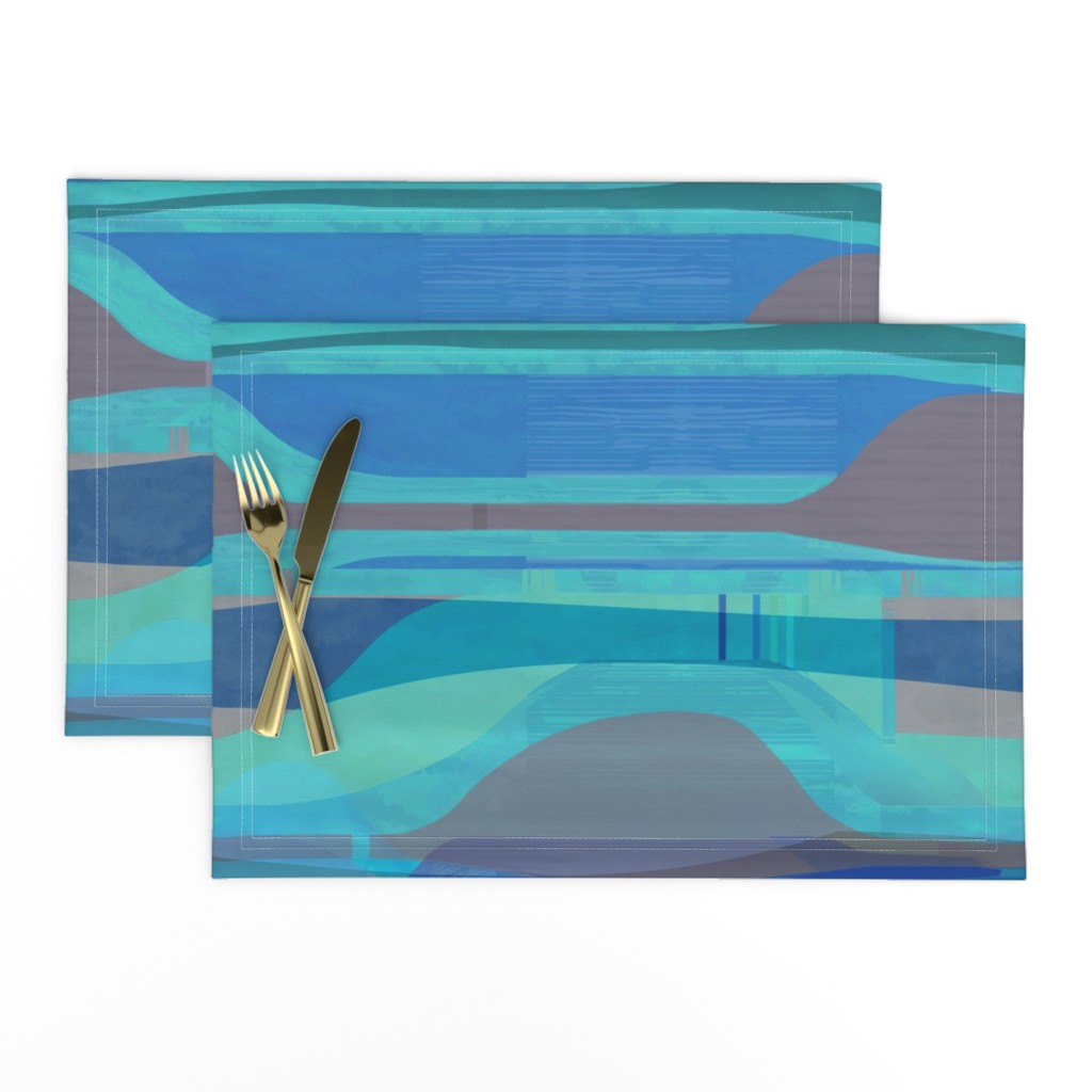Lamona Cloth Placemats featuring midc-plateau-cyan-hz by wren_leyland