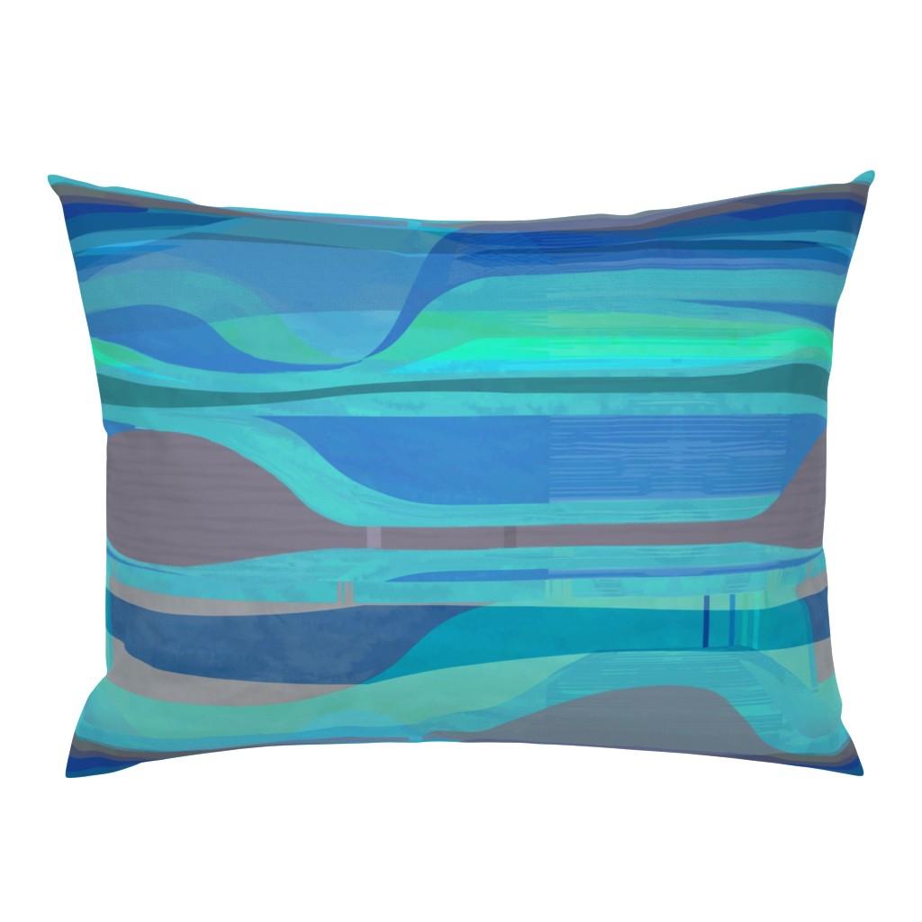 Campine Pillow Sham featuring midc-plateau-cyan-hz by wren_leyland