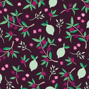 Sweet floral olive lemon garden in red wine and green summer love print