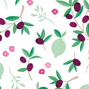 Sweet italian floral olive lemon garden in pink green and mint summer love print jumbo