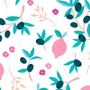 Sweet italian floral olive lemon garden in pink peach and blue summer love print jumbo