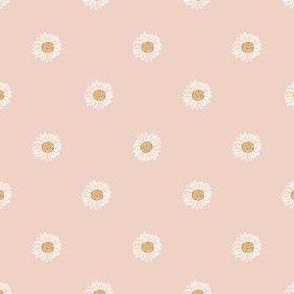 blush minimal daisy fabric, sfx1404 - daisies, simple prairie fabric, baby girl, muted, earthy, daisy fabric