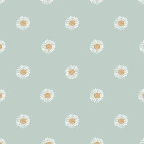 milky green minimal daisy fabric, sfx6205 - daisies, simple prairie fabric, baby girl, muted, earthy, daisy fabric