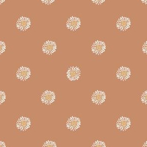 sandstone minimal daisy fabric, sfx1328 - daisies, simple prairie fabric, baby girl, muted, earthy, daisy fabric