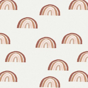 Scattered Rainbows Fabric - clay, sandstone, blush, almond  || Earth toned rainbows fabric || Rainbow Baby kids bedding