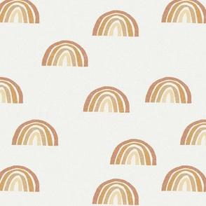 Scattered Rainbows Fabric - sandstone, oak leaf, wheat, chamomile  || Earth toned rainbows fabric || Rainbow Baby kids bedding