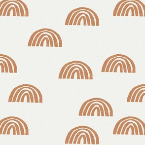 Scattered Rainbows Fabric - Caramel sfx1346 || Earth toned rainbows fabric || Rainbow Baby kids bedding