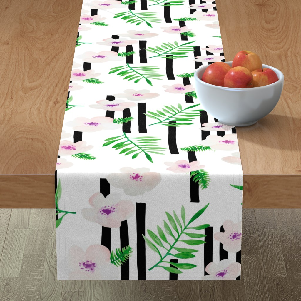 Minorca Table Runner featuring Botanical aloha garden watercolors summer palm leaves and cherry flowers blossom stripes purple green jumbo  by littlesmilemakers