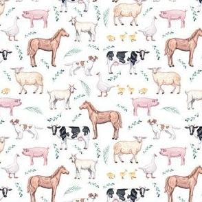 1/2 scale farm animals fabric - watercolor fabric, nursery baby fabric, baby fabric, watercolor animals fabric - white