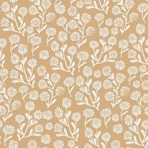 daisies fabric - wheat sfx1225 - daisy fabric, delicate ditsy floral fabric, ditsy daisies, prairie floral fabric, baby girl fabric, trendy nursery fabric
