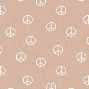 peace sign fabric - almond sfx1213