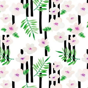 Botanical aloha garden watercolors summer palm leaves and cherry flowers blossom stripes purple green