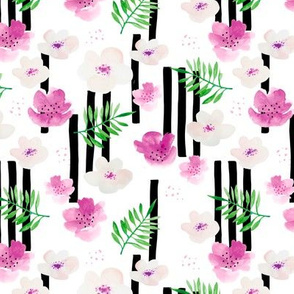 Botanical aloha garden watercolors summer palm leaves and cherry lilly flowers blossom stripes pink green