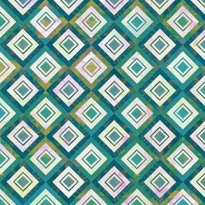 Mosaic Blue Diamonds - Large Scale