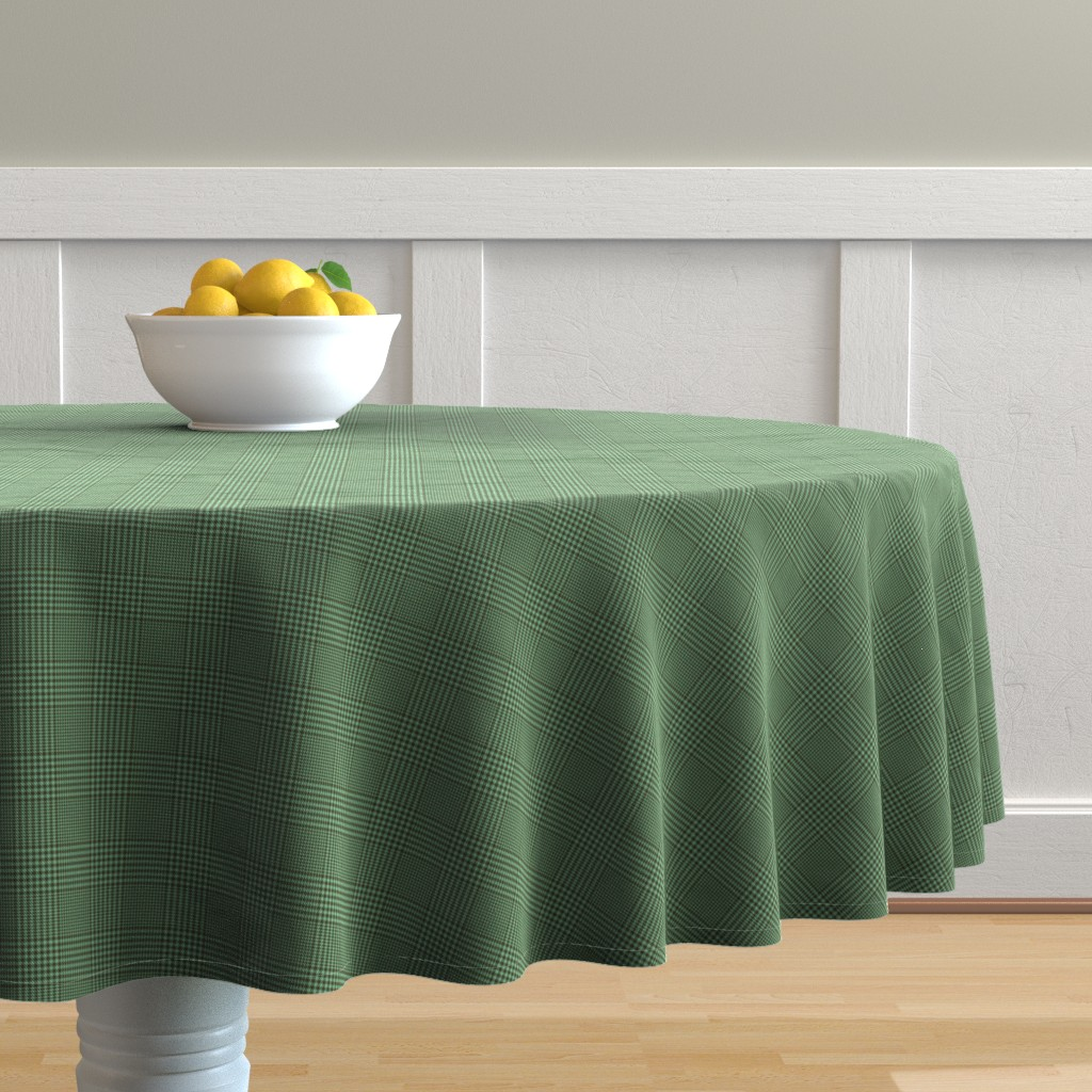 """Malay Round Tablecloth featuring Prince of Wales check #3, 2"""" lagoon bronze/aqua by weavingmajor"""