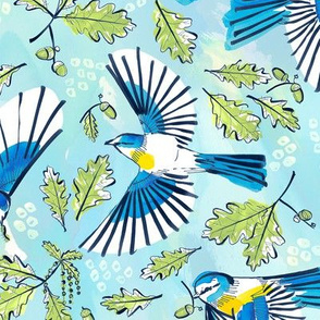 Flying Birds and Oak Leaves | Large