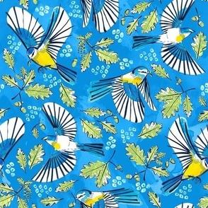 Flying Birds and Oak Leaves on Blue | Medium