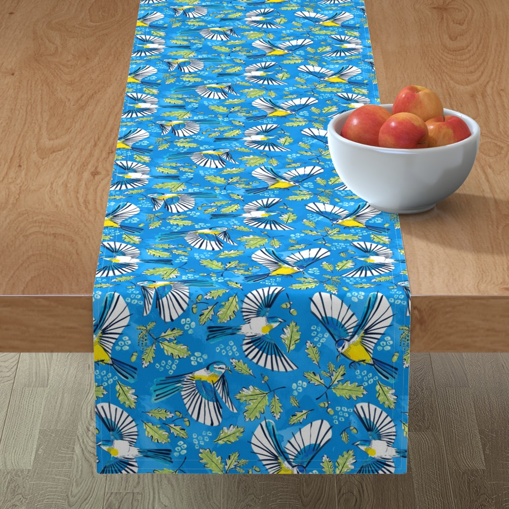 Minorca Table Runner featuring Flying Birds and Oak Leaves on Blue | Large by marketa_stengl