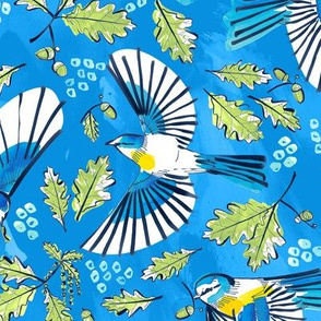 Flying Birds and Oak Leaves on Blue | Large