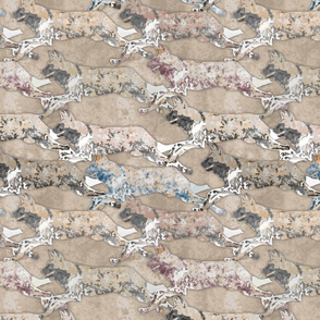 Wild Watercolored African Painted Dogs pack