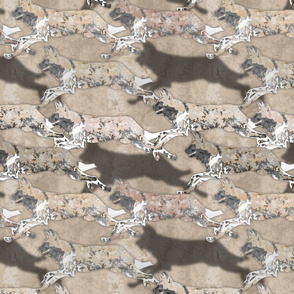 Wild Watercolored African Painted Dogs hunting