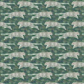 Watercolored leaping Amur Leopards - small green