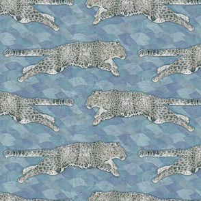 Watercolored leaping Amur Leopards - slate