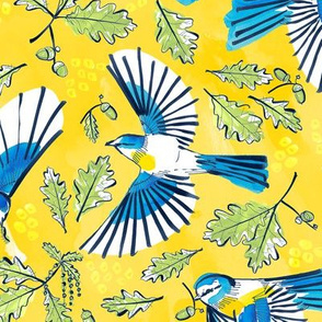 Flying Birds and Oak Leaves on Yellow | Large