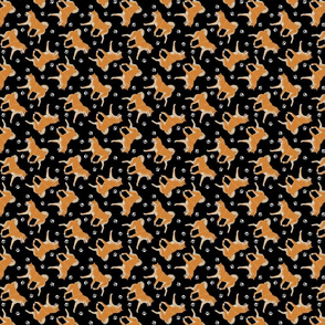 Trotting red Shiba Inu and paw prints - tiny black