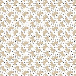 Trotting cream Shiba Inu and paw prints - tiny white