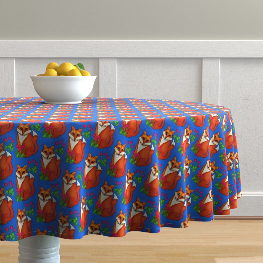 Malay Round Tablecloth featuring Spring Fox/ on Deep Blue by franbail