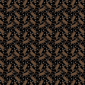 Tiny Trotting American Water Spaniel and paw prints - black