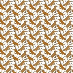 Tiny Trotting Dogue de Bordeax and paw prints - white