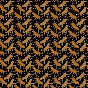 Tiny Trotting Dogue de Bordeax and paw prints - black