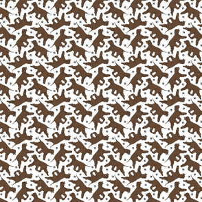 Tiny Trotting Irish Water Spaniels and paw prints - white