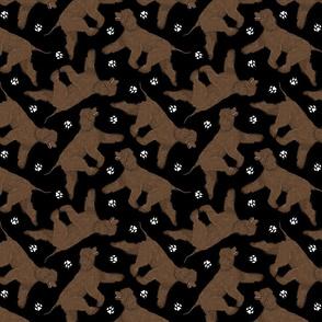 Trotting Irish Water Spaniels and paw prints - black