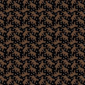 Tiny Trotting Irish Water Spaniels and paw prints - black