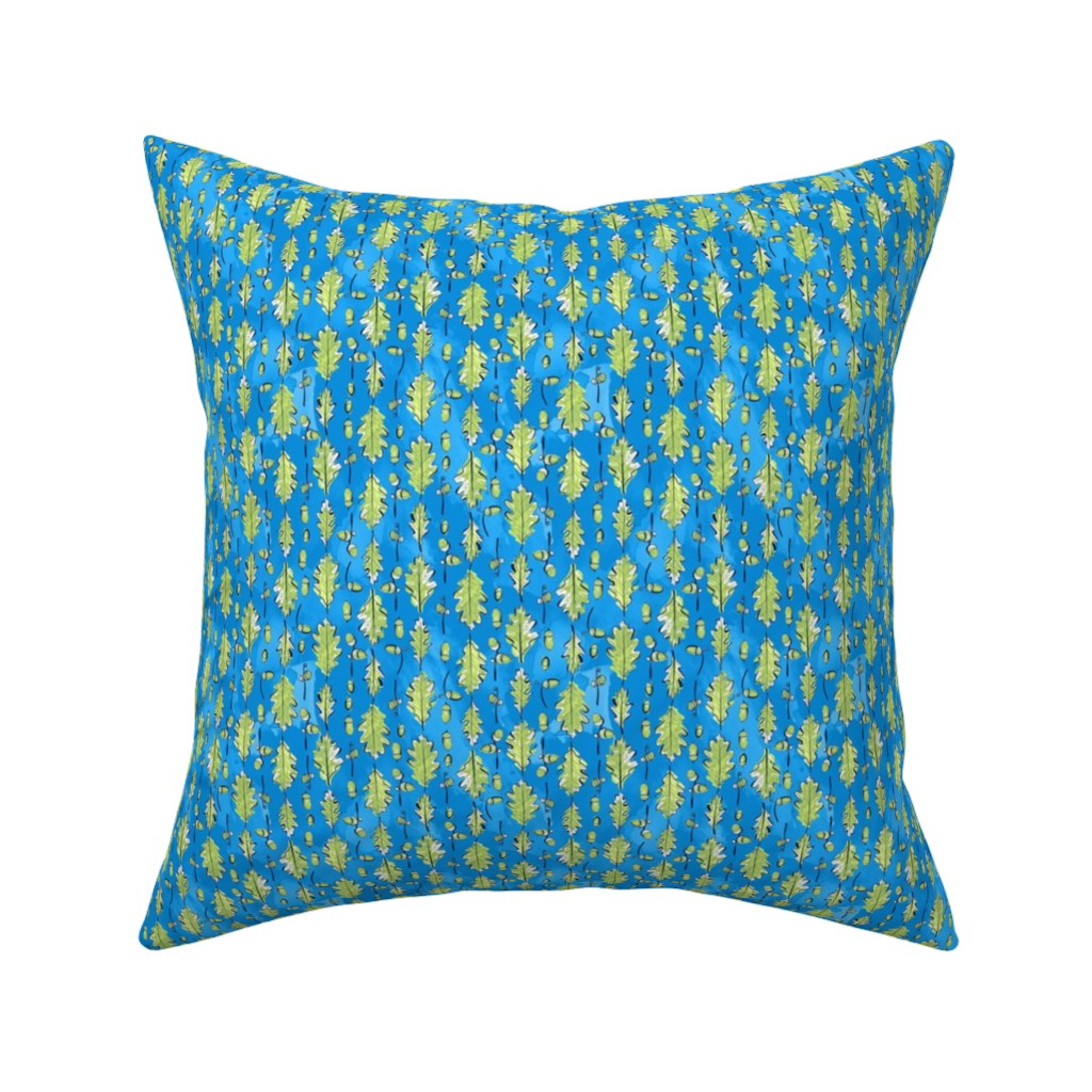 Catalan Throw Pillow featuring Oak Leaves and Acorns Stripes on Blue | Small by marketa_stengl